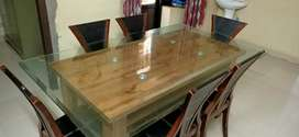 6 seater dinning table with under top shelf