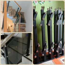 Railng tangga kaca minimalis stainless tempered