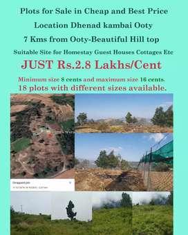 Dhenadkambai 7kms from ooty  Min plot size 8 cents and max 16 cents