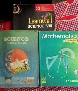 Science (ncert +learn well holy ppath) and Rs Aggarwal math class 8