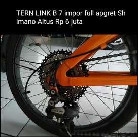 TERN LINK B 7 impor full apgret Shimano Altus pedal ION sadel baru tas