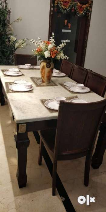 Dinning table with italian marble top and six seats 0