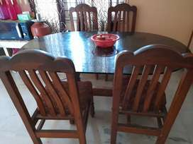 Teak wood  glass top dining table 6 seater