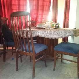 Dinning table with 6 chairs (wooden)