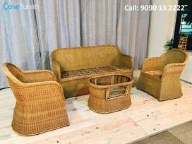Brand New Malaysian Cane Sofa Set (3+1+1) With Coffee Table