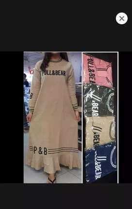 Baju gamis dress bordir p&b