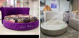 Ye round style bed ،2 side tables or dressing ap ko wholesale rate ma
