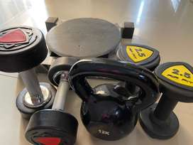 Dumbbells, kettlebell, twister , rod for fitness