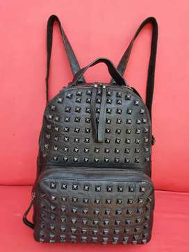 Tas import eks fashion backpack/ransel studs2 kulit asli tebal hitam