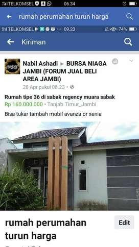 Jual rumah perumahan Sabak Regency tipe 36