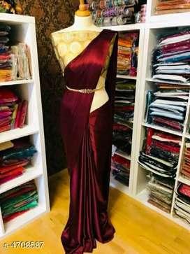Aakarsha solid belt satin sarees