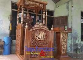 Mimbar masjid motif bunga kayu jati pilihan
