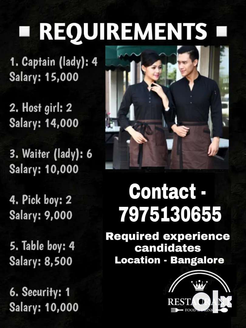 Need Hotel Service staff girls and boys