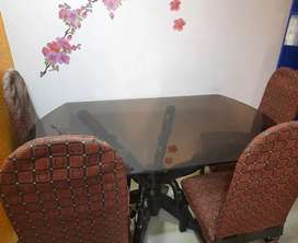 DINING TABLE -Glass top -  6 SEATER ( price negotiable)