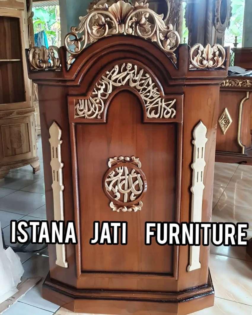 Mimbar masjid podium salina bahan kayu jati