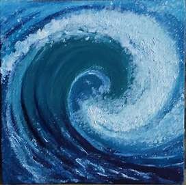 WAVES ACRYLIC MINI CANVAS PAINTING IDEAL FOR WALL DECORATION 6X6