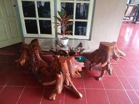 Dijual kursi antik dari bonggol kayu jati