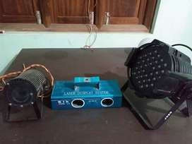 Speaker,lights,sound craft mixer,microphone stand