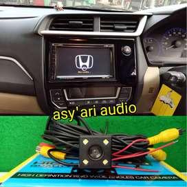 Double Din TV plus kamera buat Honda Brio Mobilio