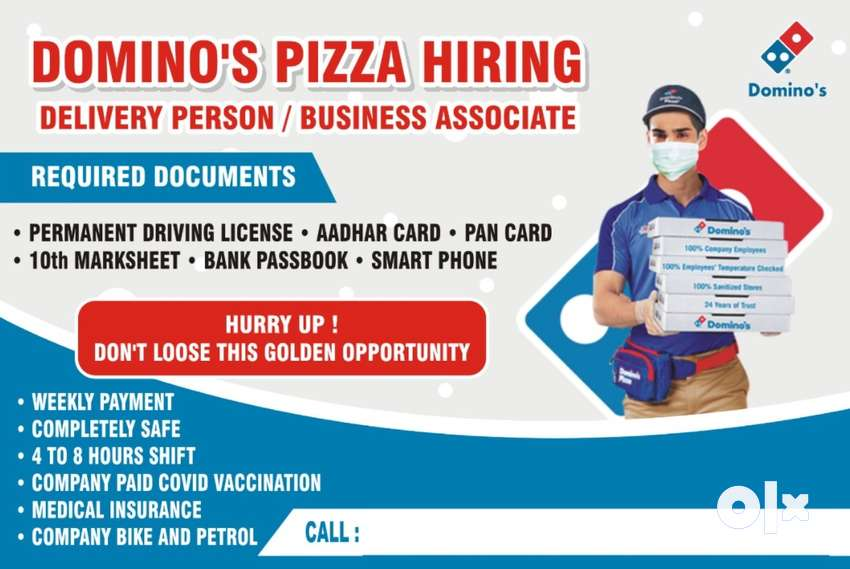 Urgently Hiring for Domino's Pizza - Delivery Executive