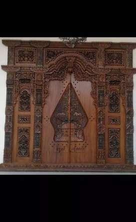 Pintu kusen gebyok kayu Jati opikan
