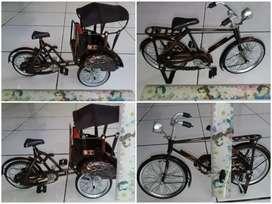 Miniatur Becak, Sepeda, Motor