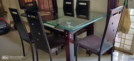 6 seater glass top Dining table