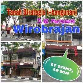 Tanah WIROBRAJAN Jl RE.Martadinata Kodya Yogyakarta. Lt 373m2 ld 10m