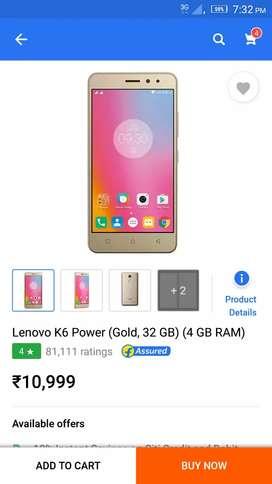 Lenovo k6 power 4gb ram 32gb rom good looking