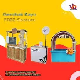 Booth kayu, Booth lipat, gerobak container, gerobak custom keren