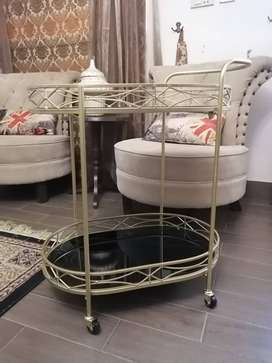 Glass and metal trolley