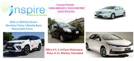 7/24-Servic/Honda city/Toyota Coroll GLI for rent Daily/Monthly/Weekly