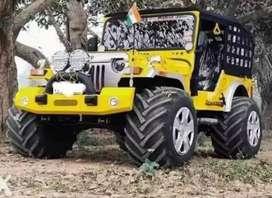 Mahindra yellow modified jeep