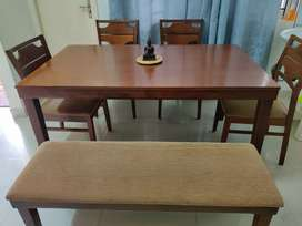 Mango wood 6 seater  Dining Table (4 chairs + 1 bench)
