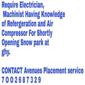 Require staff for Machine Operator, Technician, Electrician