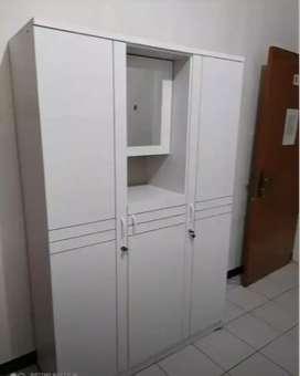 Lemari baju 3 pintu full putih kaca kedalam siap antar dan cod