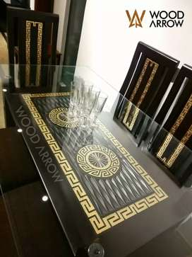 Luxury design dining table 6 chairs versace desing pure wooden /beds