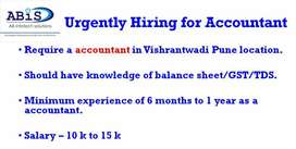 We are hiring for Accounts Graduation must (GST knowledge Required)