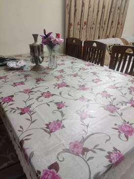 Well good condition dining table with six chair.
