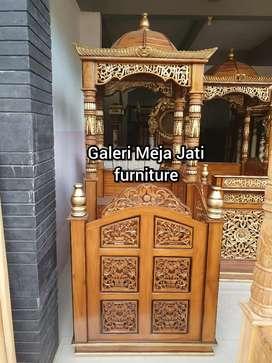 Mimbar podium masjid khotah D624 solid natural