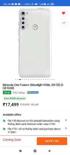 Brand new Seal pack of Moto One Fusion+ 6gb/128gb,white colour,SD730G