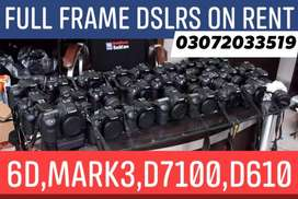 DSLRS CAMERA ON RENT, 6D,Mark3,D7100,DRONES ALSO AVAILABLE FOR SHIFTS