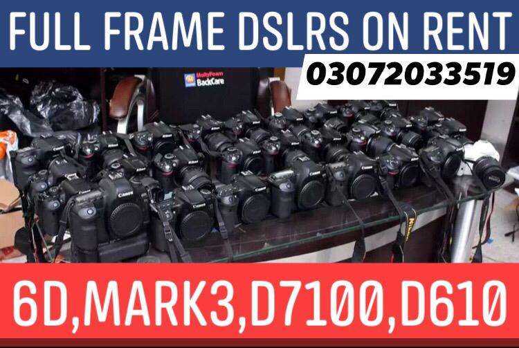 DSLRS CAMERA ON RENT, 6D,Mark3,D7100,DRONES ALSO AVAILABLE FOR SHIFTS 0