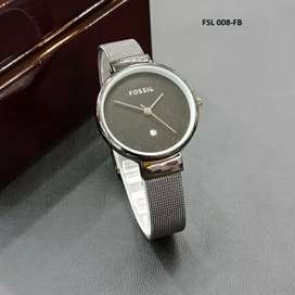 jam tangan fossil women only date silver black lock black glossy