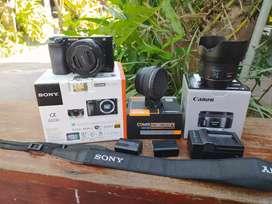 Sony a6000 kit fullset + converter + Canon 50mm 1.8 stm