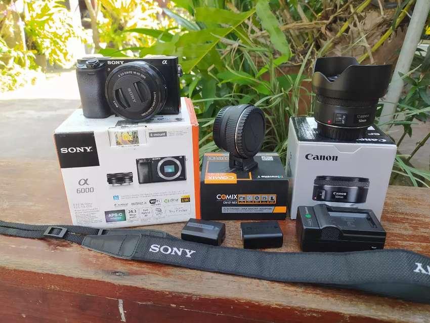 Sony a6000 kit fullset + converter + Canon 50mm 1.8 stm 0