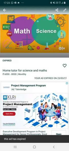 Home tutor for Science and Maths