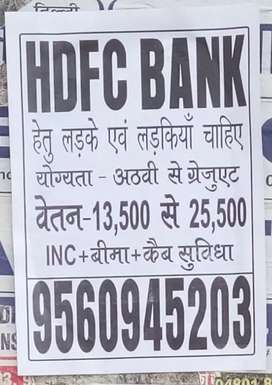 HDFC Bank job male and female candidets vacancy