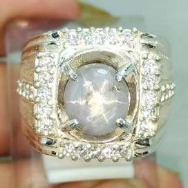 Batu Cincin Permata White Star Safire Ceylon Srilangka kode B135