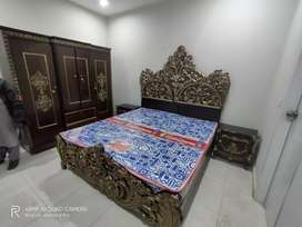 Stylish Pure Wood Carved complete bed set available for sale